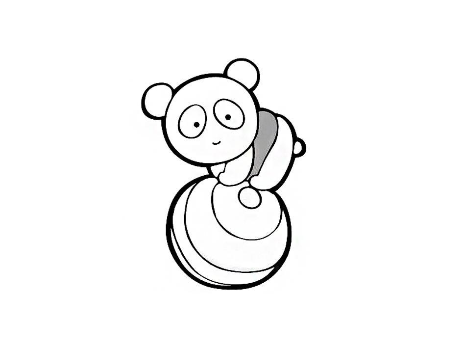 玩球的熊猫图形